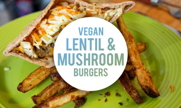 VEGAN Lentil and Mushroom Burgers with Super Crispy Baked Fries